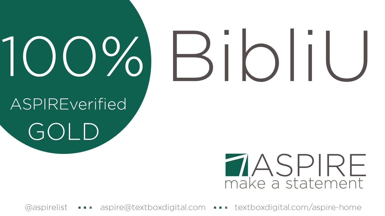 Banner announcing BibliU's 100% ASPIREverified gold score, from ASPIRE. Twitter: @aspirelist, email: aspire@textboxdigital.com, url: textboxdigital.com/aspire-home